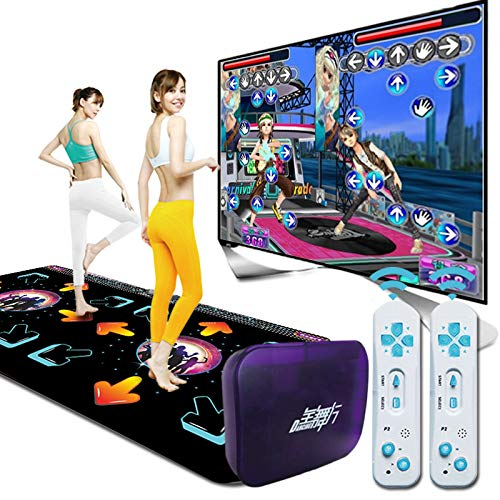 alfombra de baile Doble Máquina de Baile somatosensorial inalámbrica 3D Material de PU Corriendo Yoga Juego Memoria de 64G Ordenador de televisión, Regalo del día de los niños