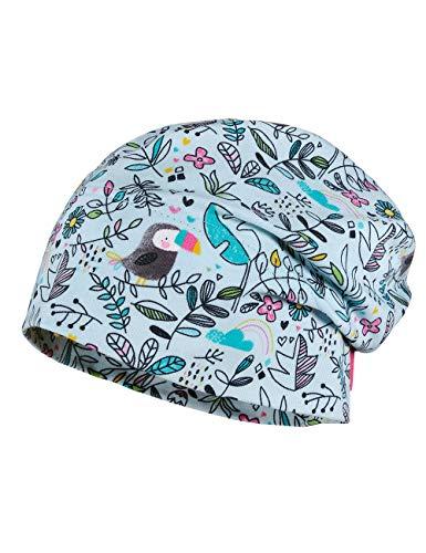 maximo Baby-Mädchen Jerseymütze Mütze, Mehrfarbig (Gletscher-Holzkohle-vögel 15), (Herstellergröße: 49)