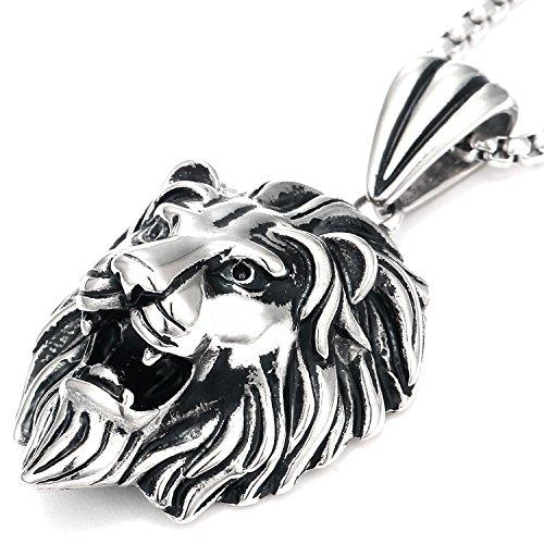 DonDon Collar con Colgante león de Acero Inoxidable para Hombres en Bolsa para Joyas