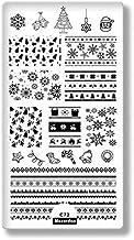 Panrot Nail Stamping Plates Christmas Elk Xmas Snowflake Image Nail Plates Nail Art Stamp Template Stencils Stamp for Nails (Mezerdooc72)