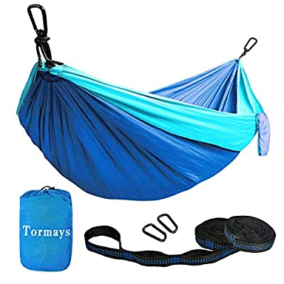 Tormays 660lbs Camping Hammock, Double Portable Hammocks with 2 Tree Straps, Lightweight Nylon Parachute Hammocks for Backpacking, Travel, Beach, Backyard, Patio, Hiking?Blue?
