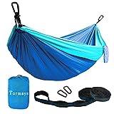 Tormays 660lbs Camping Hammock, Double Portable Hammocks with 2 Tree Straps, Lightweight Nylon Parachute Hammocks for Backpacking, Travel, Beach, Backyard, Patio, Hiking(Blue)