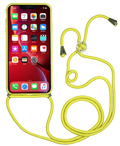 StilGut Custodia Tracolla iPhone 8 Plus/iPhone 7 Plus, Cover con Collana/Cordino in Pelle e plastica, Giallo