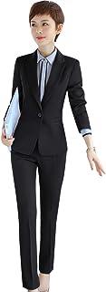 職場OLレデイーススーツセットビジネス事務所服入社面接卒業式レデイースフオーマル制服(黒/ブルーS-4XL)