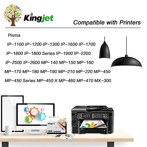 Kingjet Remanufacturado para Canon PG-40 CL-41 Cartuchos de Tinta para Canon PIXMA MP140 MP150 MP160 MP170 MP180 MP190 MP210 MP220 MP450 MP460 MP470 MX300 MX310 iP2500 iP2600 (1 Negro, 1 Tri-Color)