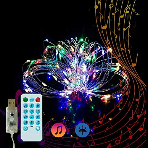 shuai Fairy Lights,50LED 5M Music Voice-Activated USB Fairy String Light Wedding Christmas Decor with 17Keys Remote Control Festive Atmosphere (Color : Colorful)