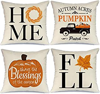 AENEY Fall Pillow Covers 18x18 inch Set of 4 Truck Pumpkin Leaves Farmhouse Throw Pillows for Fall Harvest Thanksgiving Decor Autumn Fall Decorative Pillows Cushion Cases for Sofa Couch 2048bz18