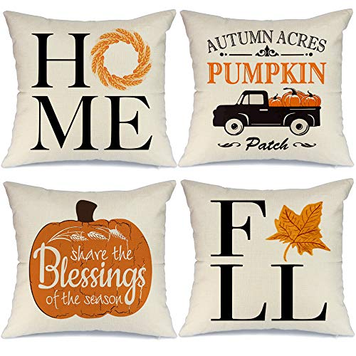 AENEY Fall Pillow Covers 16x16 inch Set of 4 Truck Pumpkin Leaves Farmhouse Throw Pillows for Fall Harvest Thanksgiving Decor Autumn Fall Decorative Pillows Cushion Cases for Sofa Couch 2048bz16