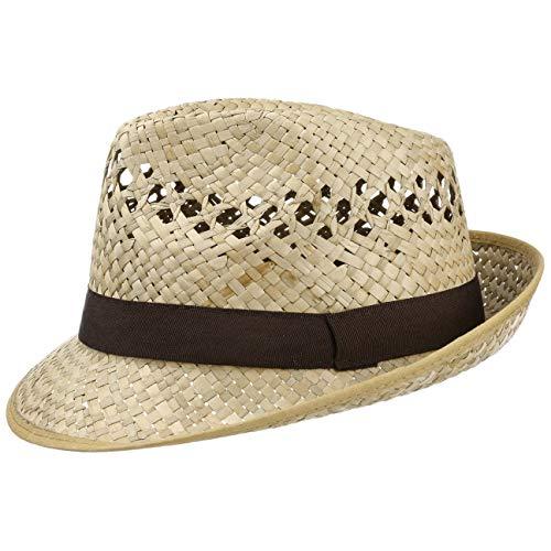 Lipodo Classic Trilby Strohhut Sommerhut Sonnenhut Fedora Hut Strandhut für Damen Herren Sonnenhut Strohhut mit Ripsband, mit Einfass Frühjahr Sommer,Herbst Winter (56 cm - Natur)
