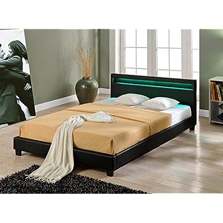 Corium Lit capitonné à LED de (Paris) (Noir)(140x200cm) lit Moderne, Cuir synthétique, avec sommier à Lattes