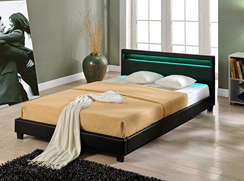 Corium Cama Elegante de Matrimonio tapizada en Piel sintética - con Sistema de iluminación LED - 160x200cm (Negro) - diseño Moderno