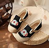 N&W Embroidered Shoes Handmade Women Linen Cotton Embroidered Slip On Loafers with Woven Soles Vegan Espadrilles Sneakers Ladies Casual Shoes Old Beijing Embroidered Shoes