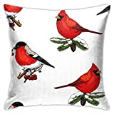 XCNGG Funda de almohadaEuropean Modern Minimalist Abstract Pattern Throw Pillow Seamless Pattern Holly and Bullfinch Red Cardinal Pillow Decoration Set 18 X 18 Inches
