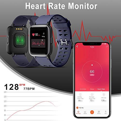 Vicsainteck Smartwatch Orologio Fitness Tracker Uomo Donna Sportivo Impermeabile IP68 Bluetooth Smart Watch Cardiofrequenzimetro da Polso Smartband Activity Tracker Contapassi Calorie per Android iOS