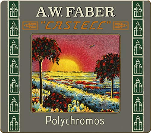 Faber-Castell 211002 - Estuche de metal con 24 lápices de colores Polychromos para artistas edición retro 111 aniversario.