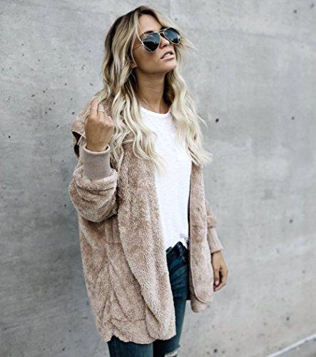 BBring Damen Mode Outwear, 2017 Fall/ Winter Faux Pelz Kapuzen Lange Jacke Kapuzenpullis Parka Strickjacke Mantel (XL, Khaki) - 3