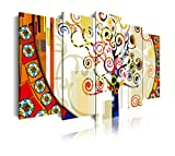 DekoArte 244 - Cuadros Modernos Impresión de Imagen Artística Digitalizada | Lienzo Decorativo para Tu Salón o Dormitorio | Estilo Abstracto Árbol de la Vida de Gustav Klimt | 5 Piezas 200x100cm XXL