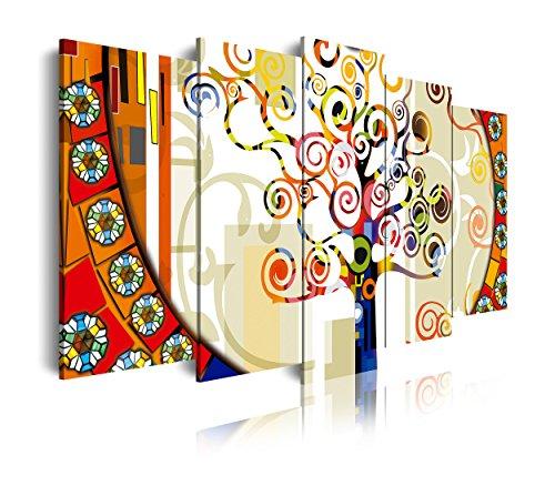 DekoArte - Cuadros Modernos Impresión de Imagen Artística Digitalizada | Lienzo Decorativo Para Tu Salón o Dormitorio |  Estilo Abstracto Árbol de la Vida de Gustav Klimt | 5 Piezas 200 x 100 cm XXL