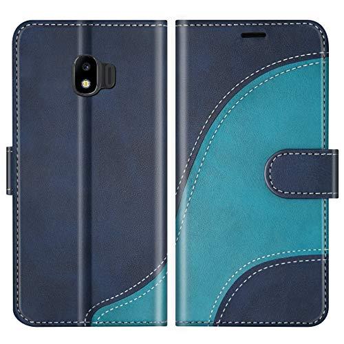 BoxTii Hülle für Galaxy J2 Pro 2018, Leder Handyhülle für Samsung Galaxy J2 Pro 2018, Ledertasche Klapphülle Schutzhülle mit Kartenfächer & Magnetverschluss, Blau