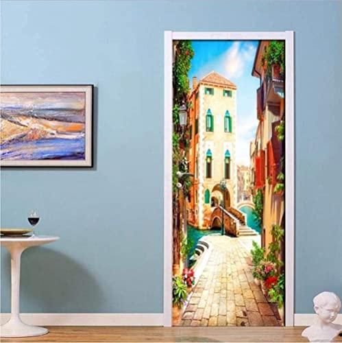 Pegatinas 3D para puerta de Venecia, ciudad, calle, hogar, oficina, decoración interior, impermeable, 77 x 200 cm