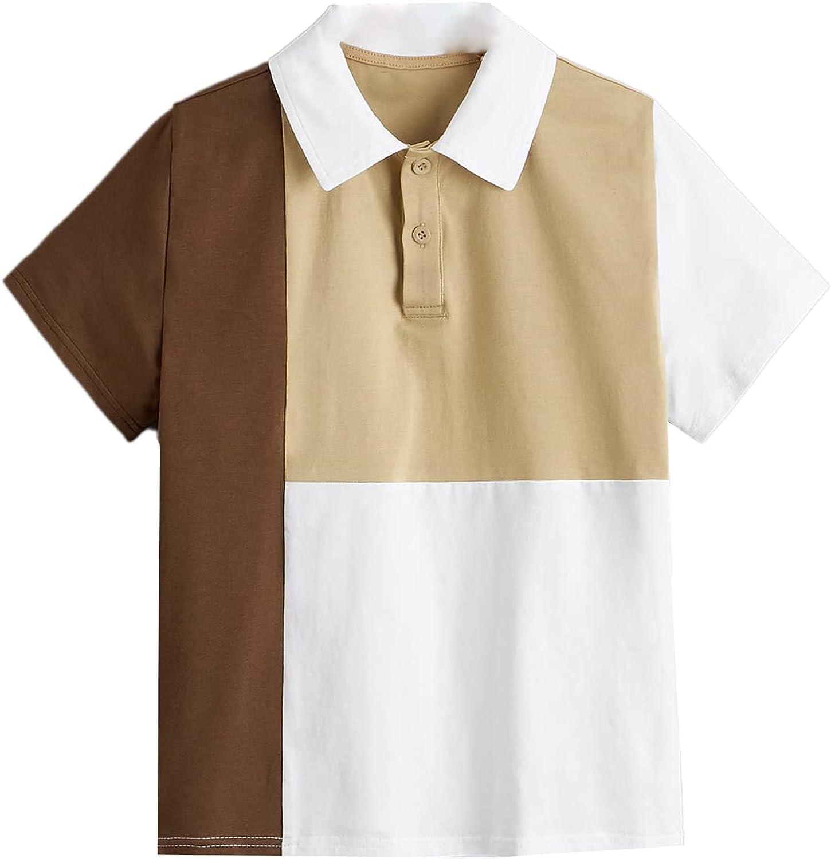 Milumia Boy's Colorblock Short Sleeve Polo Shirt Half Button Collared Tee Shirt