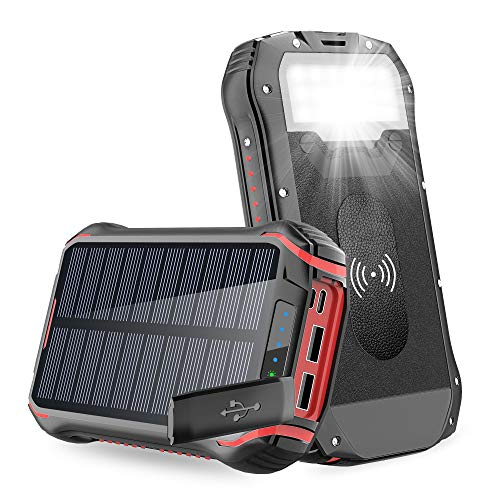 Solar Charger, Solar Power Bank Wireless Portable Charger with 4 Outputs & Dual Inputs Type-C, Waterproof External Backup Battery Pack with 18 LEDs Flashlight for iOS Android