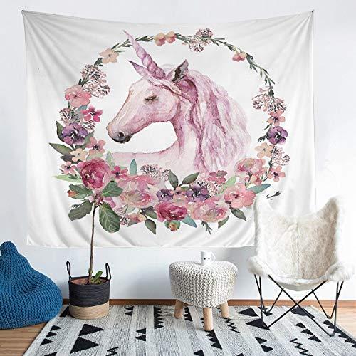 Tapiz de unicornio para colgar en la pared, diseño floral con círculo, para niños, adolescentes, rosa, diseño de unicornio, para pared, para dormitorio, sala de estar, tamaño mediano, 128 x 122 cm