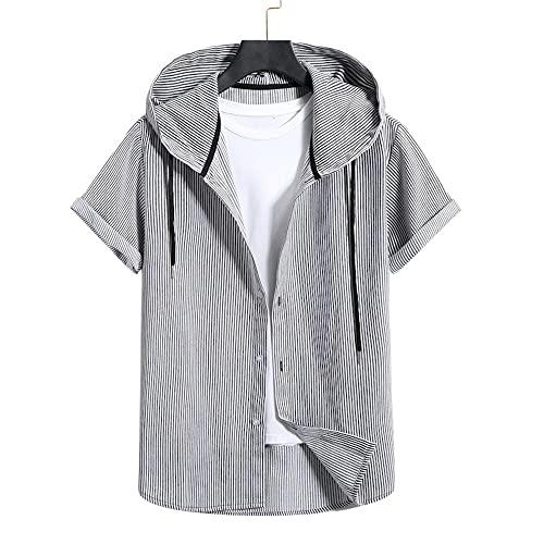 Sudadera Capucha Hombre Cuadros Moda Manga Corta Camisa Hombre Estilo Urbano Moderno Ajuste Regular Tops Hombre Tapeta con Botón Deportivo Casual Shirt Hombre con Cordón