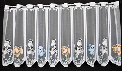 Scheibengardine für Kinder Zoo Tiere 60 cm hoch | Breite der Gardine durch gekaufte Menge in 17 cm Schritten wählbar (Anfertigung nach Maß) | weiß mit bunt | Vorhang Küche Wohnzimmer