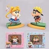 Huhu 2 unids/Set Anime Crayon Shin-Chan Figura Cos Naruto Sailor Moon Luffy Sakuragi Q Versión Figuras de acción Juguetes para niños 8 Cm