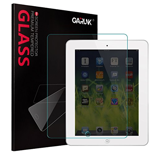 Screen Protector for iPad 2 / iPad 3 / iPad 4, GARUNK Tempered Glass Screen Protector [9H Hardness] [Crystal Clear] [Scratch Resist] [Bubble Free Install] for iPad 2 3 4 Gen 9.7-inch - Red