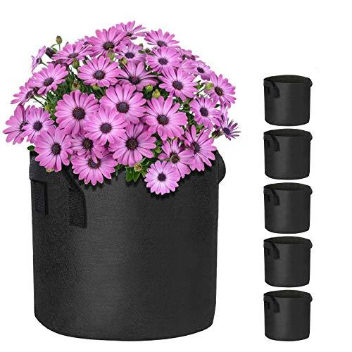 5 Stück Pflanzsack Tasche mit Griffen, 40L/10 Gallonen Dauerhaft Pflanze Wachsende Tasche, Blumen Stoffbehälter Garten Anbau Pflanzentopf für Kartoffeln Tomaten Erdbeeren Gemüse Pflanzen