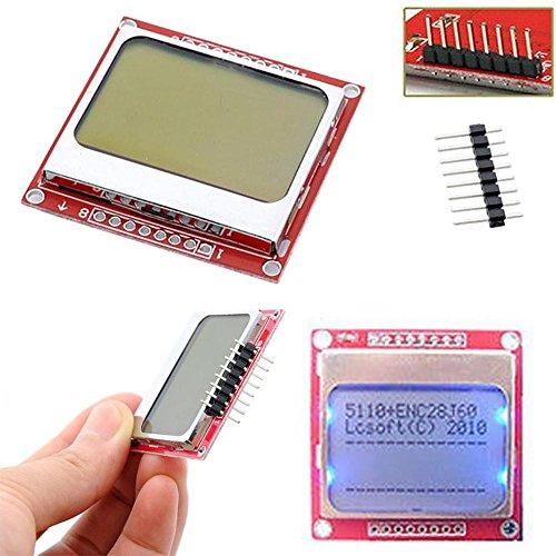 Tivivose Smart Electronics LCD-Modulanzeige Monitor Weiß Hintergrundbeleuchtung Adapter PCB 84 * 48 84x84 Nokia 5110 Bildschirm für for Arduino