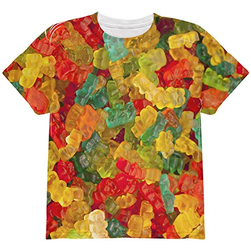 Halloween Candy Gummy Bears All Over Youth T Shirt Multi YMD