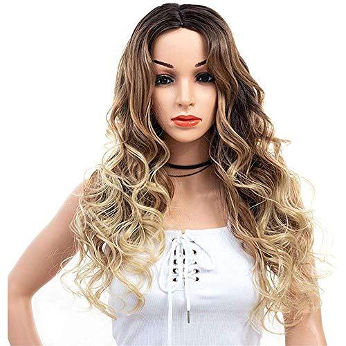 Yuyanshop Pelucas largas onduladas rizadas para mujer, parte media, disfraz largo, peluca de aspecto natural, sintética resistente al calor, pelucas de cosplay (marrón)