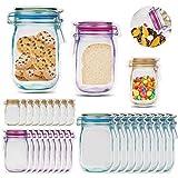 JIPRENS Borse per alimenti,30 pz Mason Jar Jar Zipper Bags Borse per congelatori riutilizzabili Sigillo ermetico Sigillo a tenuta stagna Zip Pouch Borse per la conservazione degli alimenti