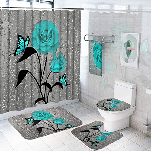 TAMOC 5 Pcs Gray Teal Rose Shower Curtain Sets with Rugs and Towels, Include Non-Slip Rug, Toilet Lid Cover and Bath Mat, Waterproof Blue Rose Shower Curtain with 12 Hooks for Bathroom, Large Size