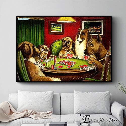 ganlanshu Hund spielt Poker Spaß Stil Poster und drucken Wanddekoration Malerei Heimdekoration,Rahmenlose Malerei-60X90cm