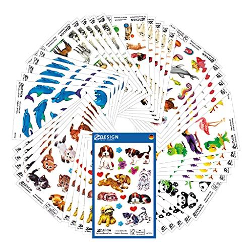 AVERY Zweckform 522 Sticker für Kinder (Aufkleber Kinder, Tiere, Kindersticker, Einhorn, Hunde, Marienkäfer, Elefant, Maus, Bär, Giraffe, Pferde, Delfine, Fische, Kindergeburtstag) 59992