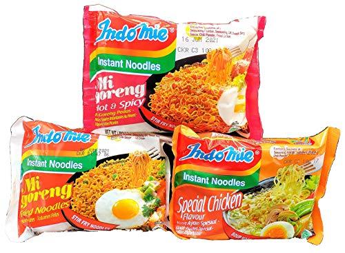 Indomie Halal Noodles Instant Ramen Noodles Variety Pack (Pack of 30) - Mi Goreng Fried Noodles, Special Chicken, and Mi Goreng Hot & Spicy Pedas (10 packs each)