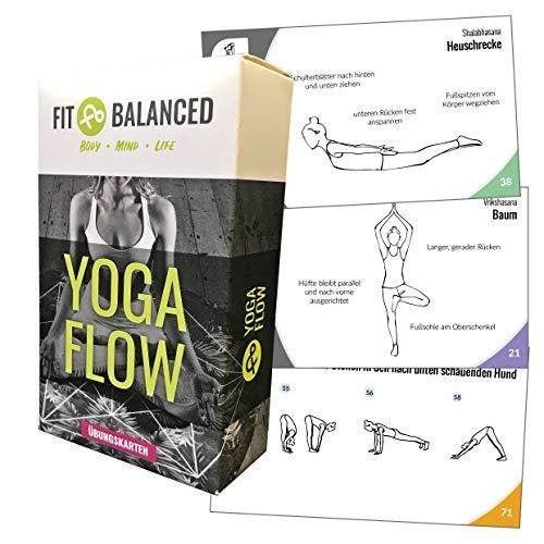 Fit&Balanced Yoga Karten, für Anfänger und Fortgeschrittene, mit 60 Yogaübungen, mit Online-Einführungs-Kurs, mit Meditationen und Atemübungen...