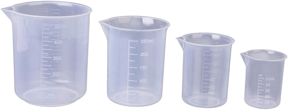 gazechimp 4 Pcs 2021 autumn and winter new 50 150 250 500ml 55% OFF Reusable Cups Plastic Measuring