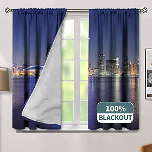 Jinguizi Blue Soundproof Curtains Canada Toronto Sunset Over The Lake Panorama Urban City Skyline with Night Lights Window Treatment for Hall & Guest Room