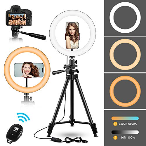 """10"""" Selfie Ring Light with Adjustable Tripod Stand & Phone Holder - Upgraded Dimmable LED Beauty Camera Ringlight for Photography/Makeup/Vlogging/Live Streaming, Compatible with Phones and Cameras"""