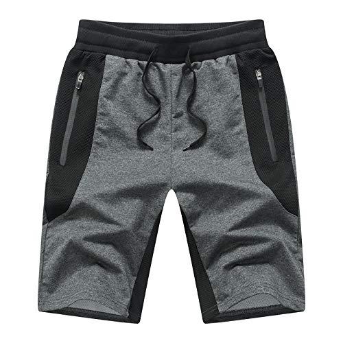 Tansozer Pantaloncini Uomo Sportivi Estivi Cotone Pantaloncini Corsa Uomo Running Palestra Shorts Grigio Scuro XL