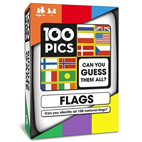 100 PICS Flags of The World Travel Game  Geography Flash Card Quiz | Pocket Puzzles for Kids and Adults