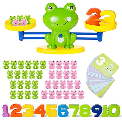 ZWOOS 82 Piezas Juguete de Matemáticas Rana Equilibrio Juego de Matemáticas Escala Digital Juguete de Libra Educación temprana Equilibrio para Niñas Niños