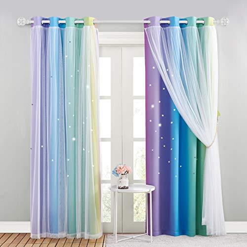 NICETOWN Kinderzimmer Vorhang Verdunkelung 2er Set - Asugehöhlte Sterne Gardinen Kinderzimmer Junge Ösenvorhang mit Voile, H 21 x B 132 cm, Regenbogen-1
