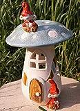 Dekostüberl Rostalgie Keramik Windlicht Pilz-Häuschen mit Zwergen 26cm Tischdeko Handarbeit Geschenk