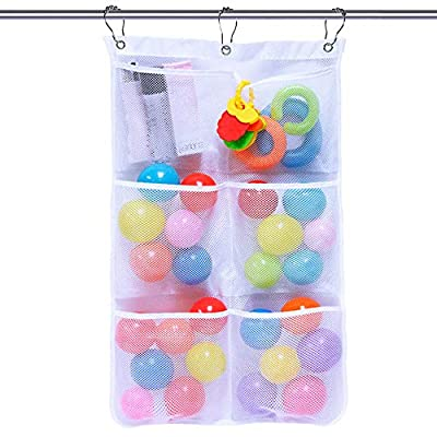 Mesh Shower Caddy Bath Organizer Shower Curtains Rod Hanging Caddies 6 Pockets with 3 Hanging Rings and 3 Hooks for Selection, 17 x 26 Inch, White